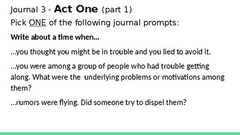 The Crucible: UNIT Journal Prompts, Acts 1-4
