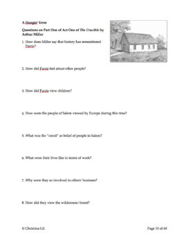 The Crucible Study Guide   Act 1, 2, 3, & 4   Questions, Tests, Quizzes, Writing
