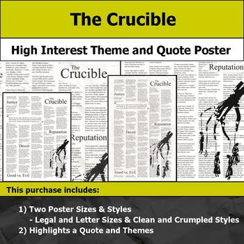 The Crucible - Visual Theme and Quote Poster for Bulletin Boards