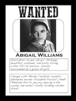 The Crucible **WANTED POSTER PROJECT**