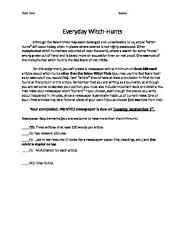 The Crucible Witch-Hunt Newspaper