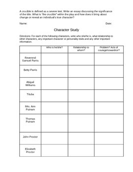 The Crucible Worksheets