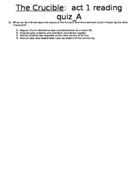 The Crucible, act 1 reading quiz