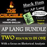 The Crucible and Huck Finn: A Rhetorical Analysis Focus for AP Lang - Bundle!