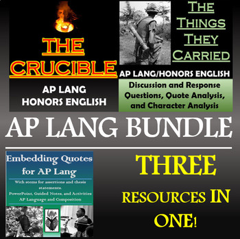 The Crucible, The Things They Carried, Embedding for AP Lang - Discounted Bundle