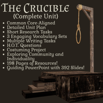 The Crucible by Arthur Miller - Full Unit (198 pages of resources!)