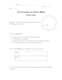 The Crucible by Arthur Miller Middle School Test