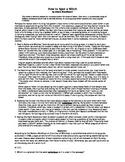The Crucible by Arthur Miller Non-Fiction Companion piece