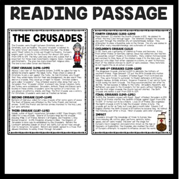 The Crusades Article, Chart, Questions, Middle Ages, Religion, Christianity