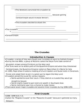 The Crusades Basic Notes