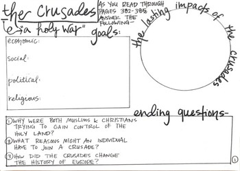 The Crusades Graphic Organizer
