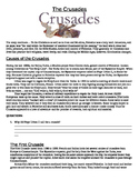 The Crusades: Guided Reading, Questions and Graphic organizer