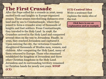 The Crusades Reading Activities
