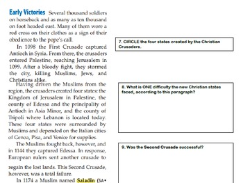 The Crusades Summary/Reading/Interactive Notes/Scaffolded Notes