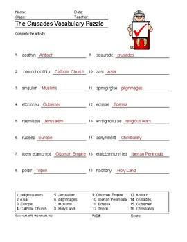The Crusades Word Search and Vocabulary Word Puzzle Worksheets