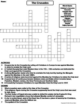 The Crusades Worksheet/ Crossword Puzzle