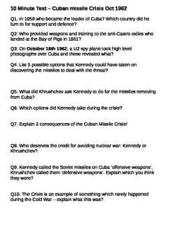 The Cuban Missile Crisis - The Cold War 10 Minute Test