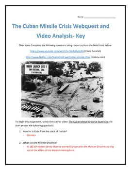 The Cuban Missile Crisis- Webquest and Video Analysis with Key