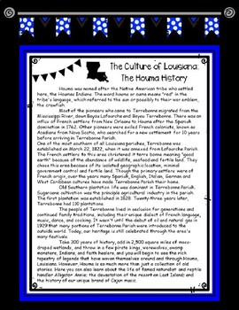 The Culture of Louisiana: The Houma History Informational Text