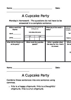 The Cupcake Party Journey's Common Core