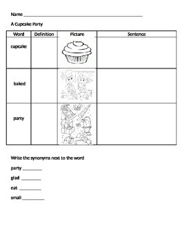 The Cupcake Party Vocabulary