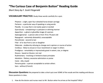 The Curious Case of Benjamin Button Reading Guide and Quiz