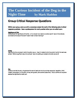 The Curious Incident of the Dog in the Night-time - Critical Response Questions