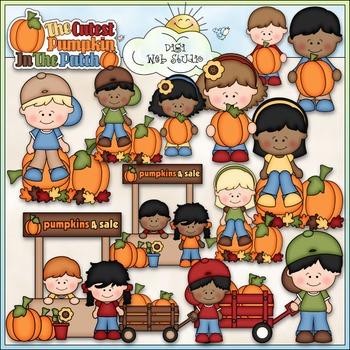 The Cutest Pumpkin Clip Art - Pumpkin Patch Clip Art - Fall - CU Clip Art & B&W
