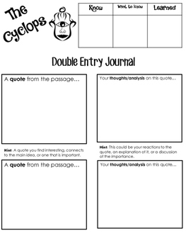 """The Cyclops Double Entry Journal - """"The Odyssey"""""""