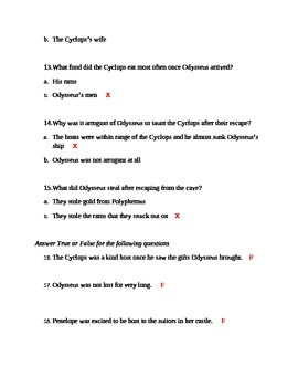 The Cyclops and Odyssey Quiz with Sentence Structure Check EC Exceptional Child