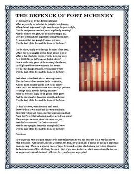 The DEFENCE of Fort McHenry (Star Spangled Banner) Activity
