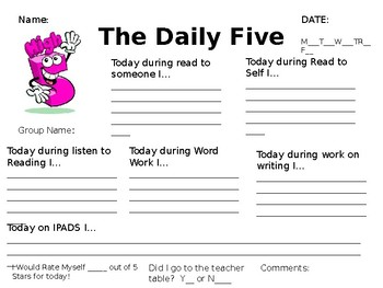 The Daily 5 exit slip