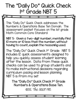 "The ""Daily Do"" Quick Check 1st Grade Numbers & Operations Base Ten NBT 5"