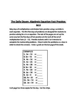 The Daily Dozen: Algebraic Equation Fact Practice: Set A