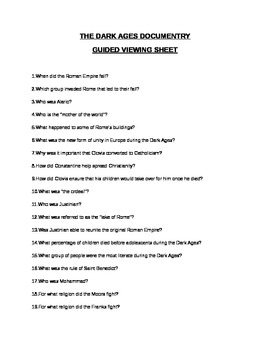 The Dark Ages Documentary Guided Viewing Worksheet By Jessica Jarvis