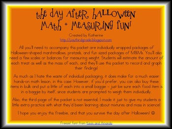 The Day After Halloween: A Graphing, Measuring, and Predicting Freebie!