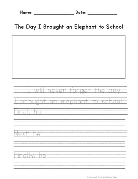 Creative Writing: The Day I Brought an Elephant to School {K-2nd}