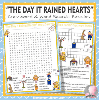 The Day It Rained Hearts Activities Bond Crossword Puzzle and Word Searches
