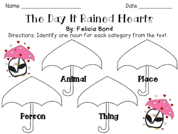 The Day It Rained Hearts: Identifying Nouns Activity
