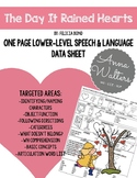 The Day It Rained Hearts: One Page Speech and Language Data Sheet