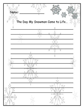 The Day My Snowman Came to Life - Creative Writing Activity