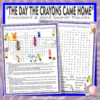 The Day the Crayons Came Home Activities Daywalt Crossword Puzzle, Word Searches