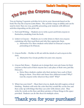 The Day the Crayons Came Home Activities Packet