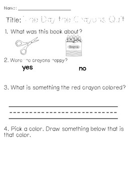 The Day the Crayons Quit Assessment