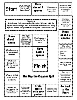 """""""The Day the Crayons Quit"""" Comprehension Game Board"""
