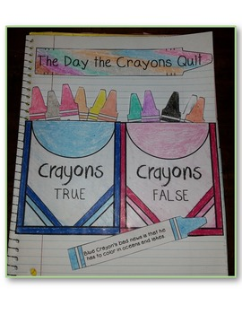 The Day the Crayons Quit – Interactive Notebook, Activities, Task Cards, Writing