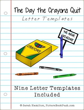 BOOK ACTIVITY - The Day the Crayons Quit - 9 Letter Templates