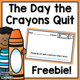The Day the Crayons Quit Mini Response - Free
