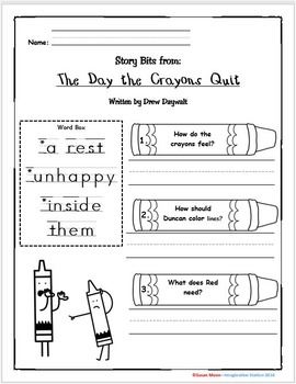 The Day the Crayons Quit Primary Activity Packet