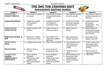 The Day the Crayons Quit Rubric